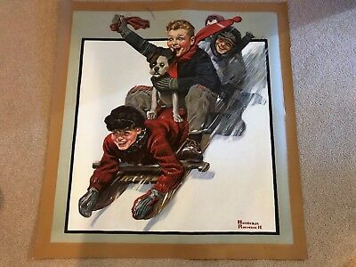 """Authentic Artagraph Oil Painting""""The Sleigh Ride """"By Norman Rockwell #37/1500"""