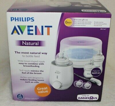 Philips Avent Natural All-in-One Gift Set w/ Microwave Sterilizer, Bottle Warmer