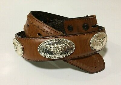 "19"" - 23"" Nocona Child's 22 Steer Conchos Brown Leather Belt"