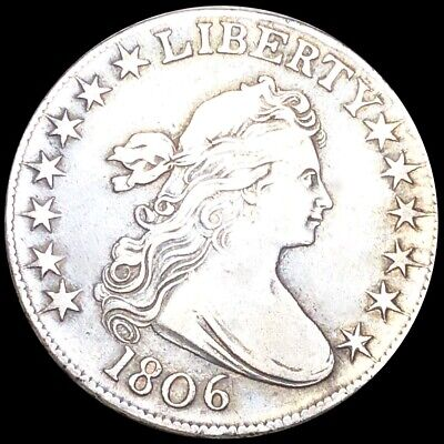 1806 Draped Bust Half Dollar ABOUT UNCIRCULATED Philadelphia Key Date 50c Silver