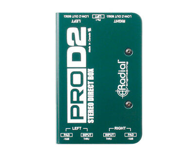 Radial ProD2 Pro D2 Dual Stereo Passive Direct Box Guitar Bass Keys