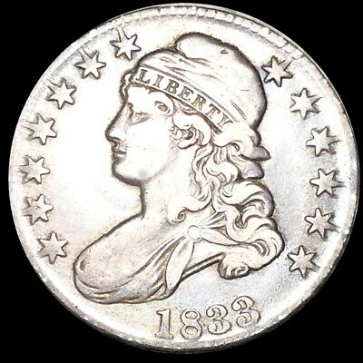 1833 Capped Bust Half Dollar NEARLY UNCIRCULATED Philadelphia 50c Silver Coin NR