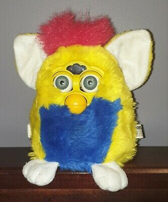 ☆Furby 'Yellow & Blue' 1999 by Tiger Electronics - Tested / Works
