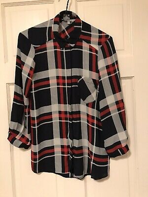 Ladies Red Herring Navy Blue/Red/White Checked Blouse Size 10