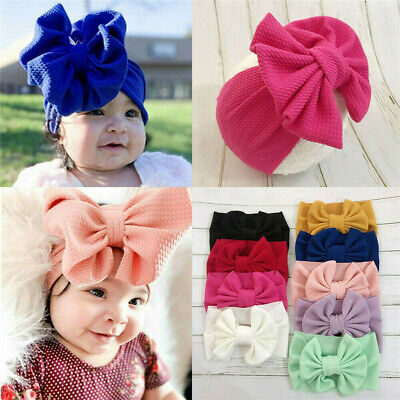 Toddler Girls Baby Big Bow Hairband Headband Stretch Turban Knot Head Wrap Cute