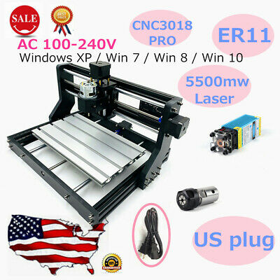 3 Axis CNC Wood Carving Engraving Machine ER11 Mill CNC Router Kits+5500mw Laser