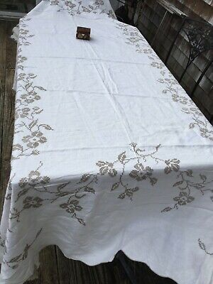 VTG  Hand Embroidered Dogwood Flowers LINEN Lace Corners 69X102 In TABLECLOTH