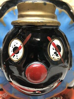 Rare Thames of Japan Black Clown Biscuit Jar. Red ware from late 50s early 60s