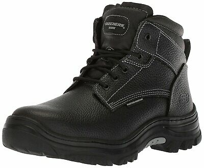 Skechers Mens 77143 Leather Closed Toe Ankle Safety Boots, Black, Size 10.0 Swxx