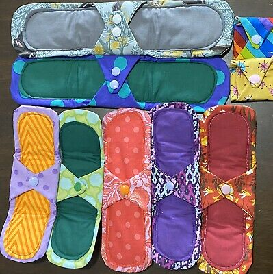 9pcs Reusable Cloth Pads Starter Pack Mixed Bulk Set Assorted Selection Washable