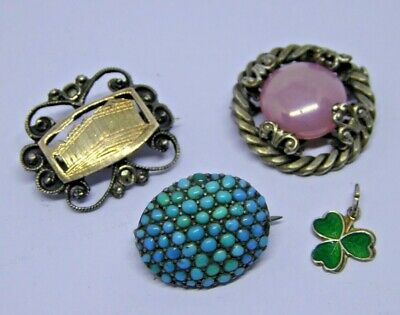 Vintage Silver / Turquoise / Enamel Shamrock Jewellery / Brooches / Charms