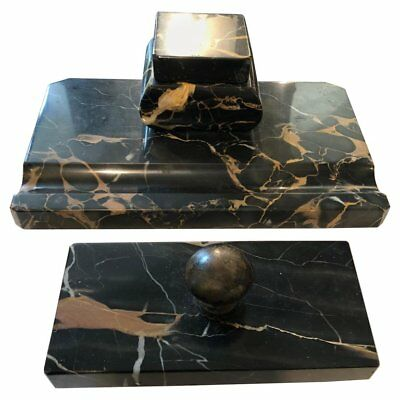 Art Deco Portoro Marble Italian Desk Set, about 1930