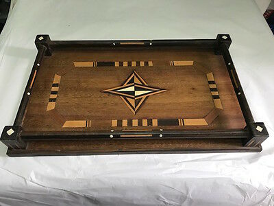 Tray English Vintage Wooden Inlaid