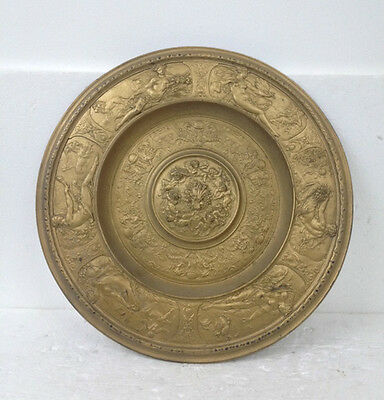 Antique Dish Wall Plate in Metal Golden C.1850 England