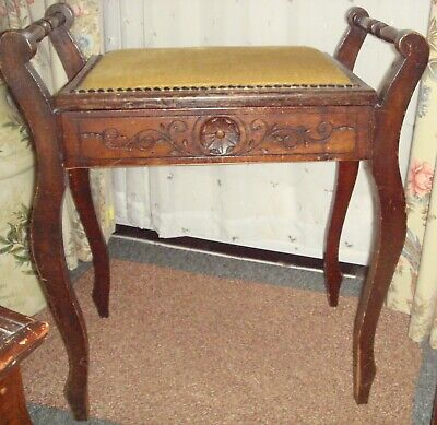Piano Stool With Storage For Music Dark Oak. Seat Recovered Some Yrs.ago Collect