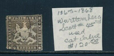 Own Part Of Wurttemberg Stamp History 1 Issue Cat Value $120.00