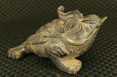 chinese old copper hand cast jinchan Plenty of money luck statue fortune god