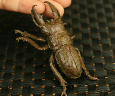 chinese old bronze  hand cast beetle statue collectable tea tray hand piece