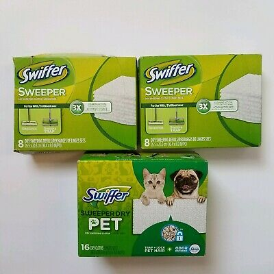 3 Boxes Swiffer Sweeper Dry Sweeping Cloth Pad Refills 1 Pet Traps Hair 32 Count