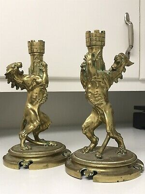 Magnificent Victorian Gothic Brass Lion Candlesticks
