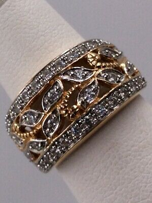 Sterling Silver Gold Wash Floral Filigree Cubic Zirconia Band Size 5 I-3342