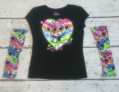 JUSTICE Girls Black Rainbow Monkey Tee Shirt and Arm Sleeves 10 VGUC