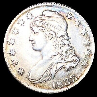 1833 Capped Bust Half Dollar CLOSELY UNCIRCULATED Philadelphia 50c Silver Coin!