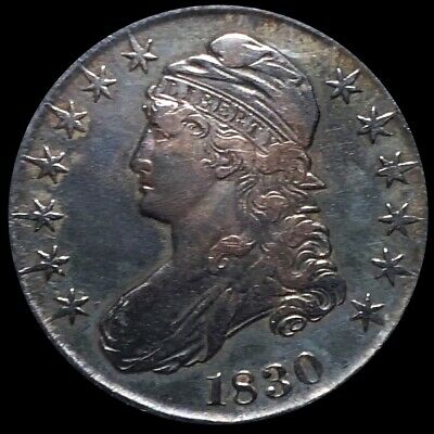 1830 Capped Bust Half Dollar LIGHTLY CIRCULATED Philadelphia 50c Silver Coin NR!