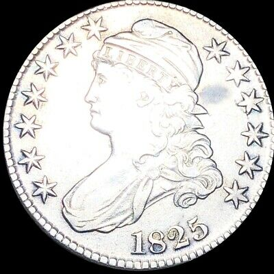 1825 Capped Bust Half Dollar CLOSELY UNCIRCULATED Philadelphia 50c Silver Coin!