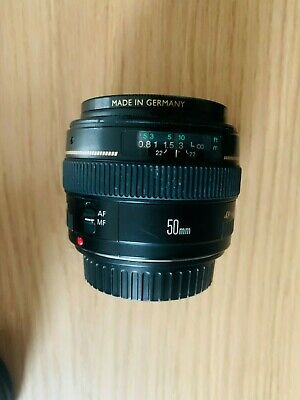 Canon EF 50mm f/1.4 USM + German Filter + Hood for Canon DSLR–Perfect Condition!