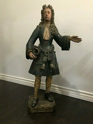Antique 18Th C Wood Carving Statue American Revolution Sculpture French Glas Eye