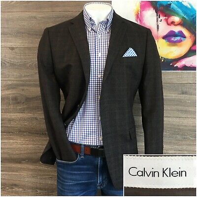 Calvin Klein Mens Sport Coat Blazer Two Button Jacket Size 42R Wool Plaid Check