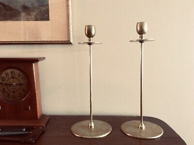 "Pair Of Jarvie  Style Candlesticks With No Reserve! 12 1/2"" Heavy All Brass. Bin"