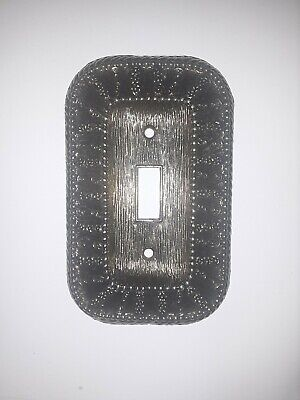 Vintage 1968 American Tack Antique Brass Single Toggle Light Switch Plate