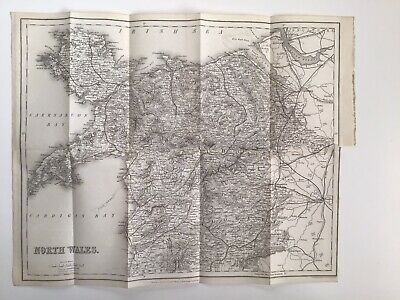 NORTH WALES, 1868 Original Antique Map, Railways, Coach Roads, Bartholomew