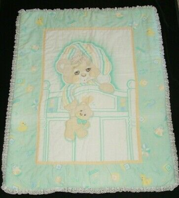 Vintage Teddy Beddy Bear Crib Comforter Baby Blanket Quilt Lace Ruffle