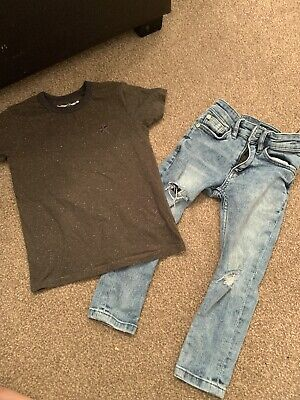Next Boys Ripped Knee Jeans And Top Set Aged 3 Years