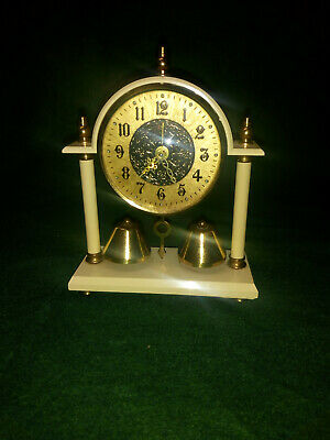 Unusual Rare Estyma Cream Plastic or Bakelite alarm clock with bells