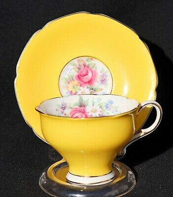 Vintage Paragon Demitasse Cup & Saucer Bright Yellow Rose Floral Double Warrant