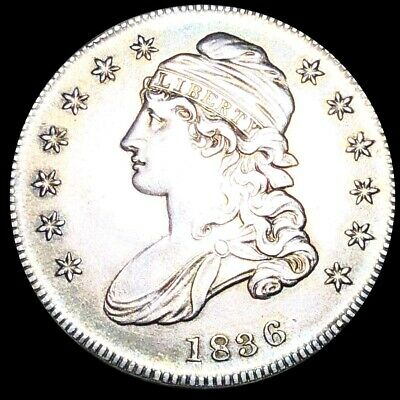 1836 Capped Bust Half Dollar CLOSELY UNCIRCULATED Philadelphia 50c Silver Coin!