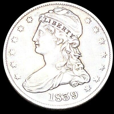 1839 Capped Bust Half Dollar CLOSELY UNCIRCULATED Philadelphia 50c Silver Coin!