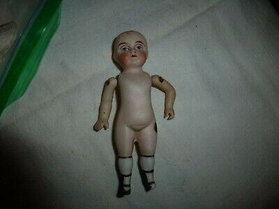 """Antique German All Bisque Doll-5"""" Tall-Hand Painted Face, Attached Arms-Painted"""