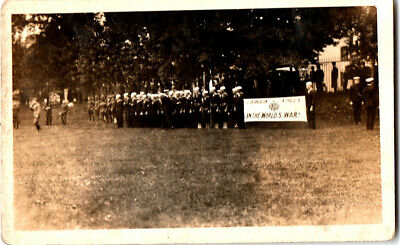 S21.1968 RPPC Postcard Patriotic WWI Naval Recruits Lineup in Camden? NY c 1915