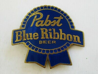 BIG Vintage Pabst Blue Ribbon Beer Enamel Brass Promo Belt Buckle