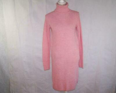 Dip Sweater Dress Small Turtleneck Long Sleeves Pink Stretch Tunic Acrylic