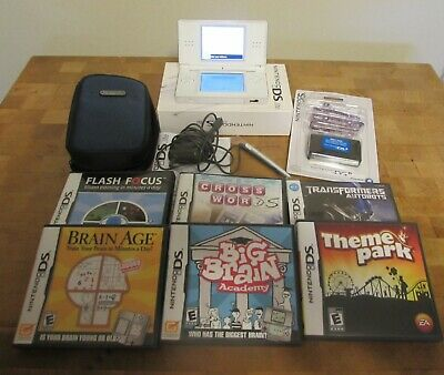 Nintendo DS Lite Bundle w/ White Console, 6 Games, Padded case, Charger, more
