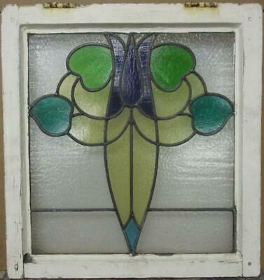 "OLD ENGLISH LEADED STAINED GLASS WINDOW Stunning Abstract Floral 20.75"" x 22"""