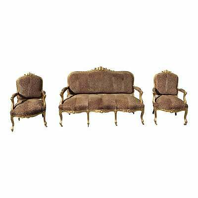 19th Century Louis XV Style Giltwood Carved Three-Piece Salon Suite.