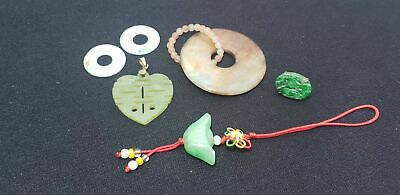 6 Asian Pendants-Jade-Stone-Carved-Earring-Collection-