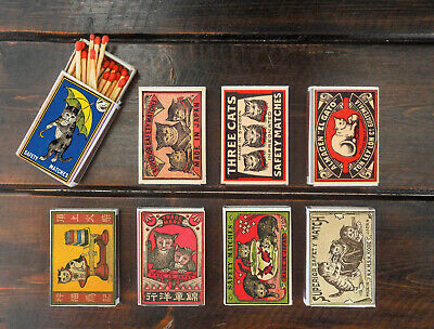 set of 8 matches box various CAT old style vintage reprint match holder printing